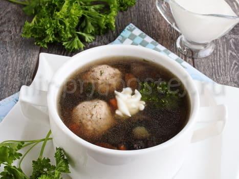 Грибной суп с фрикадельками из фарша