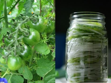 Консервированный салат из зеленых помидор и кабачков